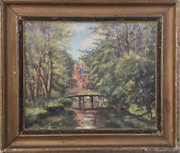 Unbekannter Impressionist Parklandschaft mit Landhaus Dänemark signiert42 x 49