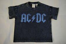 AC//DC Boys Worn Logo Childrens T-Shirt Charcoal