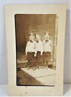 Antique RPPC 3 Boys Dressed Up Happy 1914 Postcard Potts Last Name