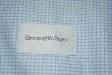 $525 MINT Ermenegildo Zegna White Blue Check Cotton Dress Shirt 17.5 37