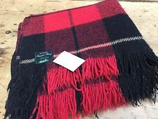 "VINTAGE 100% WOOL TARTAN PLAID TRAVEL RUG BLANKET - 66""W  X 64""L - NEEDS TLC"