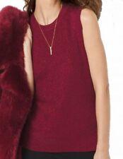 $78 MICHAEL KORS new HI LO soft Red Metallic Women's Size XL Vest Ribbed Sweater