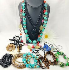 Beaded BOHO Jewelry Lot Necklaces Bracelets Stones Glass Shell Wood Statement