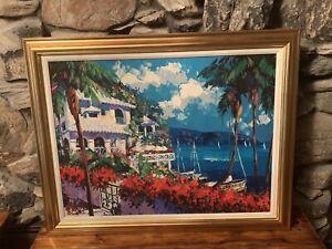 "Barbara McCann ""Paradise Bay"" Canvas Hand Embellished Art Painting Limited 41/50"