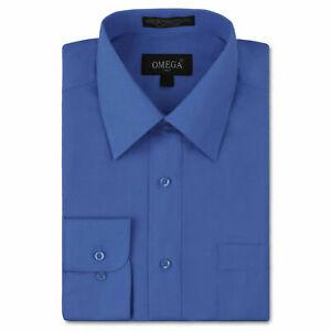 Men's Button Up Formal Dress Shirt Long Sleeve Solid Color Regular Fit