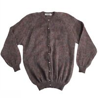 Vintage Scottish Angora Wool Knit Cardigan Sweater Purple Rainbow Pearl Buttons