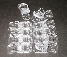 25 PACIFIER BIB HOLDER BADGE T PLASTIC CLIPS CLEAR