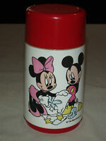 WALT DISNEY  MICKEY MOUSE MINNIE MOUSE GLOBE MEXICO RED ALADDIN THERMOS