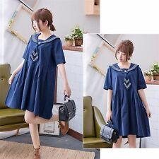 Lolita Girl Navy Dress Sailor Tie Collar Loose Short Sleeve Skirt Summer Fashion