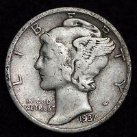 1937-S MERCURY DIME / CIRCULATED GRADE GOOD / VERY GOOD 90% SILVER COIN