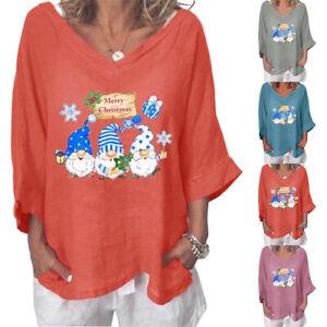 Women's Plus Size Christmas V-Neck T-Shirt Xmas Casual 3/4 Sleeve Tunic Blouse