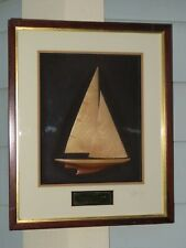 Vintage 1967 AMERICAS CUP Sailboat Race INTREPID Wooden Model Framed in Glass