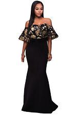 Black Gold Sequins Ruffle Off Shoulder Strapless Mermaid Maxi Dress 8 10 12 14