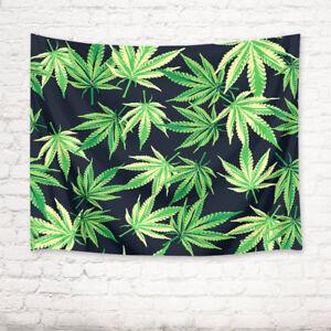 Green Marijuana Leaves Theme Tapestry Wall Hanging for Living Room Bedroom Dorm