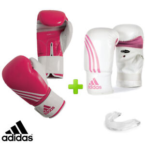 New! adidas Pink Fitness Boxing Gloves Set! Includes Bag Gloves & Mouthguard