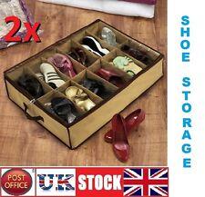 COPPIA di 2x12 Sotto Letto Scarpa Organizer Storage titolare scatola da scarpe Tidy Bag Tasche Rack