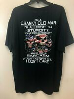 Fruit of the Loom Men's XL Black T-Shirt Cranky Old Man Allergic to Stupidity