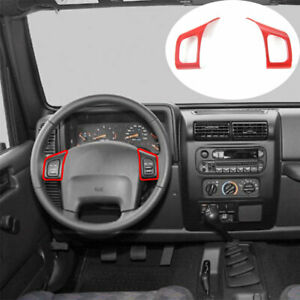 Fit For Jeep Wrangler TJ 1997-2006 ABS Red Steering Wheel Switch Cover Trim 2PCS