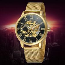 Herren Luxus Uhren Edelstahlband Skeleton Automatik Mechanische Sport-Armbanduh~