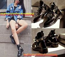 Block Ankle Solid Buckle Women's Boots