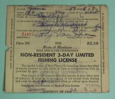 1948 Montana Non Resident 3 Day Fishing License Tag Permit