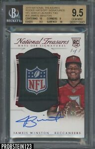 2015 National Treasures Red Jameis Winston RC NFL Shield Patch AUTO 1/1 BGS 9.5