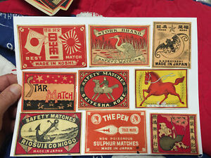 Lot # 38 China and/ or Japan Matchbox Mostly Packet Labels about 100 Years Old