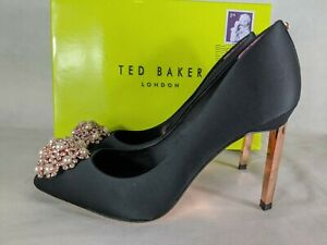 Ted Baker UK 6 Peetch Satin Brooch Court Shoes Heels Evening Party