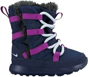Nike Roshe One HI TDV 807760-407 Baby Toddler Boots NEW Midnight Navy Purple