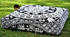Indian Cotton Elephant Mandala Cushion Pouf Cover Outdoor Day Bed Ottoman Throw