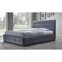 Margaret Upholstered Queen Platform Bed in Gray