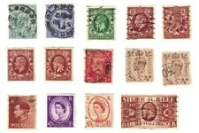 Great Britain Old Antique Vintage Perfin Stamps, Lot of 14