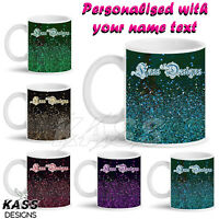 Sparkling Glitter Black Frame Personalised Mug Cup Unique Name Friends Gift Idea