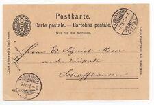 1892 SWITZERLAND Cover KÜSSNACHT to SCHAFFHAUSEN Stationery Postcard 5c