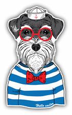 "Schnauzer Sailor Dog Car Bumper Sticker Decal 3"" x 5"""