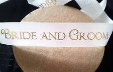 2 Metres Satin Wedding Ribbon Bride Groom 25mm Wedding Cakes, Cards, Decorations