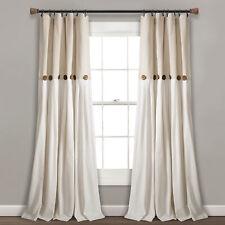 Linen Button Window Curtain Panels Single Linen 40X84