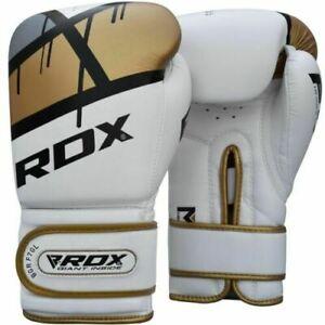 RDX F7 Ego Golden 12oz Boxing Training Gloves White Hook & Loop Men & Women