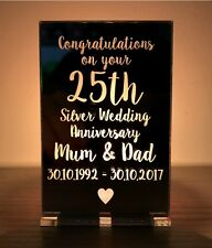 Personalised 25th Silver Wedding Anniversary Gifts Candle Holder Mum Dad Gifts