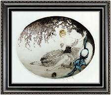 Louis Icart Original Color ETCHING Hand Signed Art Deco Authentic Fallen Nest