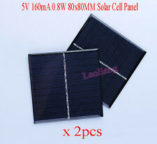 2pcs 5V 160mA 0.8W 80x80MM Solar Cell Panel Charger Charging Module DIY Car Boat