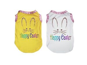 Yellow Top T-Shirt Happy Easter Bunny Face Pet Cat Dog Puppy One Piece Clothes