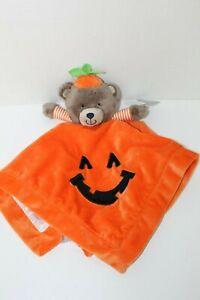 Carter's Pumpkin Teddy Bear Halloween Lovey Rattle Orange NWT