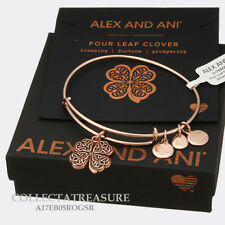 Authentic Alex and Ani Four Leaf Clover (iv) Rose Gold Expandable Charm Bangle
