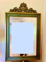 SUBLIME Grand MIROIR LOUIS XVI LAQUÉ en bois doré sculpté 101,5 x 63 cm