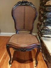 Gentil Vtg Antique French Provincial Accent Chair Carved Wood Flower Floral Wooden  Cane