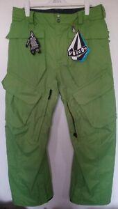 Mens Volcom Green Ski Snowboard Pant Trousers Size Large L RRP 185.00