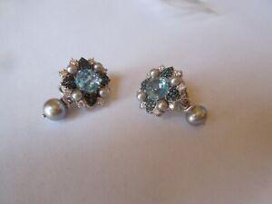 Judith Ripka Sterling Silver & Blue Topaz Earrings