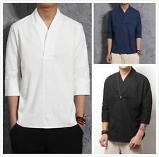 Plus Size Men Chinese Vintage Casual Cotton Linen Shirts Hanfu Solid Tee T-shirt