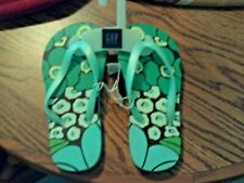NWT Gapkids girls flip flops teal, green & brown floral design size 10/11